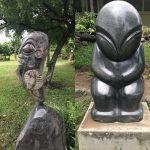 Les Tikis contemporains des jardins du Musée.